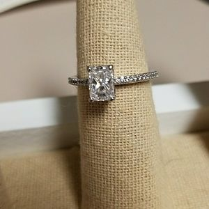 NWT Emerald Cut CZ in Sterling Silver Ring